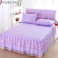NIOBOMO Bed Skirt Purple Pink Y Bedding Skirt For Bedroom Bedding Skirt With Home Bed Pure Color Fitted Sheets Set
