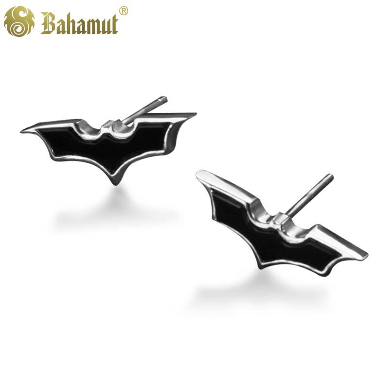 цена на Bahamut 925 Real Silver Batman Knight Stud Earring Male Men's Jewelry With Gift Box Batman The Dark Knight Rises Rise Studs