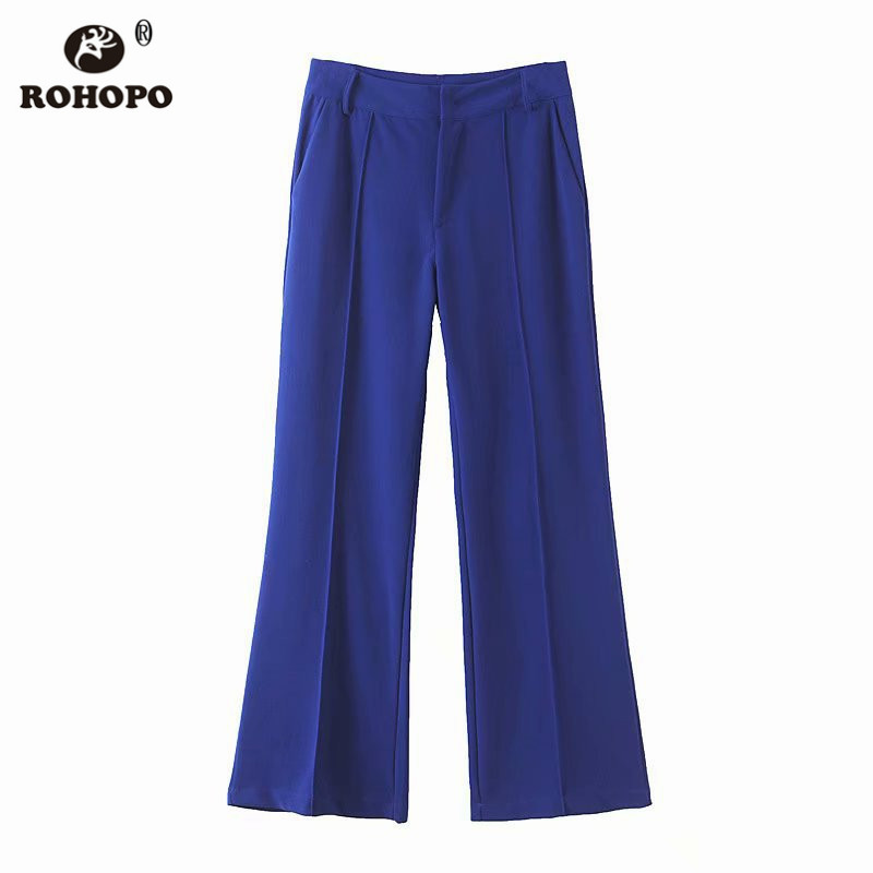 ROHOPO Women Autumn Micro Flare Full Lenth Pant Office Female Solid Chic Loose Flared Bottom Trousers BM2192 in Pants amp Capris from Women 39 s Clothing
