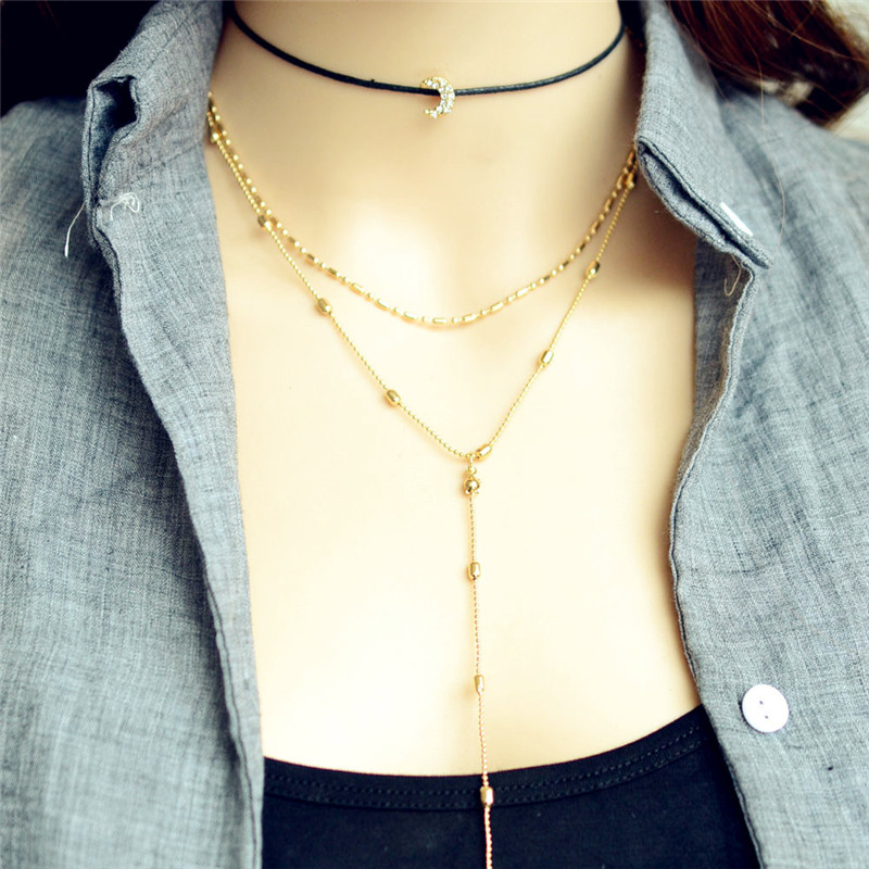 3 Layered Necklaces Pendants Charm Choker Multilayers Necklaces Moon Shaped for Women Choker Collier Femme Jewelry Bijoux in Chain Necklaces from Jewelry Accessories