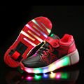 Kids Shoes with LED Light Children Shoes Glowing Sneakers with Wheels Blue Pink Black Kids Shoes with Led Light for Boys Girls