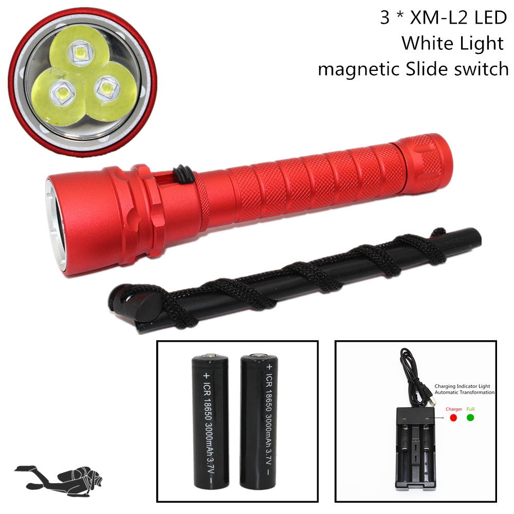 Diving Flashlight 3 x XM-L2 3200 Lumens LED 30W Torch Waterproof Underwater 100M Scuba Light Support 18650 100m underwater diving flashlight led scuba flashlights light torch diver cree xm l2 use 18650 or 26650 rechargeable batteries