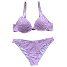 Womens Sexy Two Piece Bikini Set Pleated Deep V-Neck Push Up Underwire Padded Swimsuit Low Waist Solid Candy Color Triangle Bott color block push up underwire bikini set