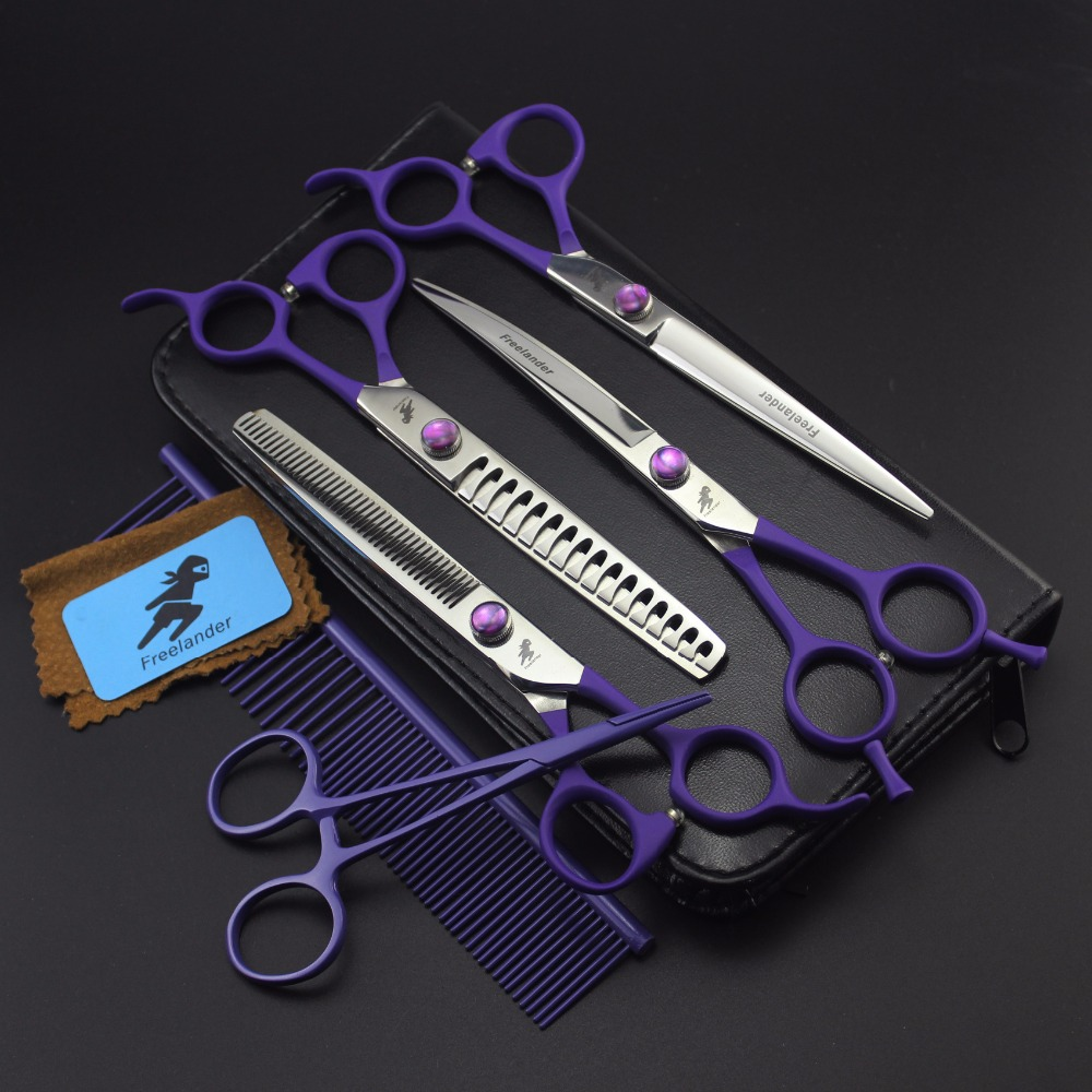 7 Professional pet toilettage kit directe et ciseaux à effiler et pièces courbes 4 pièces, Violet poignée droite
