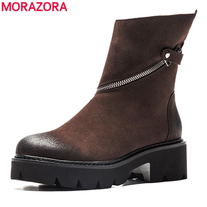 MORAZORA 2018 hot sale genuine leather ankle boots women round toe zipper Martin boots punk fashion platform shoes woman black цена