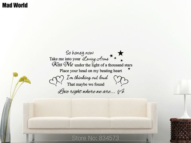 Mad World So Honey Now Song Lyrics Wall Art Stickers Wall Decal Home ...
