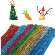 100 шт. блестящая синельная проволока для очистки труб плюшевые жестяные стебли Проводные палочки детские развивающие принадлежности для творчества игрушки Craf