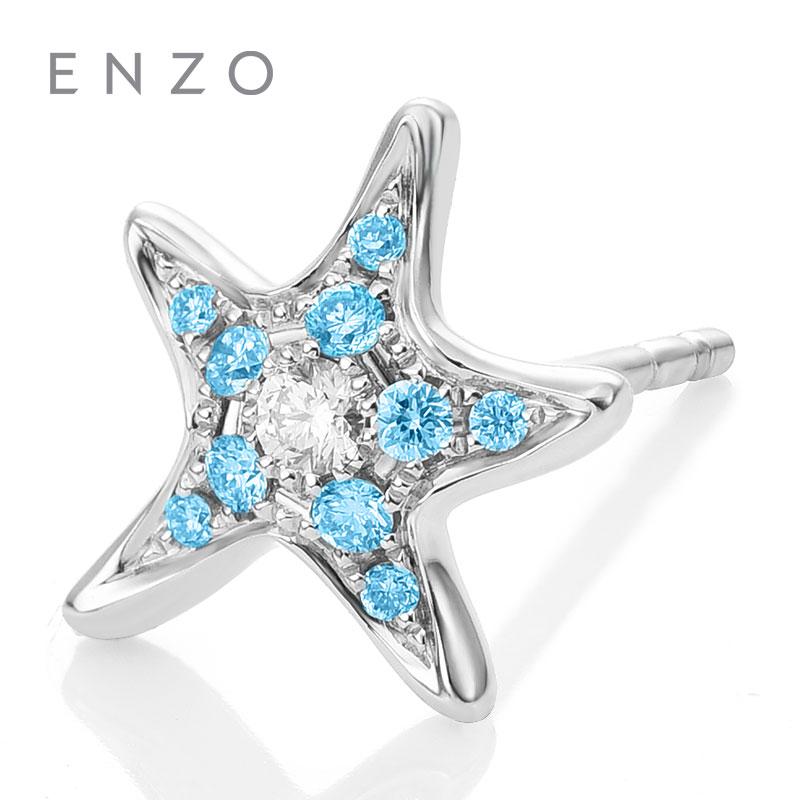 ENZO Starfish Shape Earring with Blue Topaz and Diamond 18K White Gold Natural Gemstone  ...