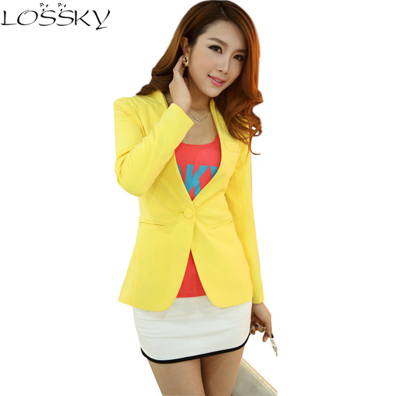 OL Blazers Women Female Slim Suits Candy Color Coats Long Sleeve One - Կանացի հագուստ