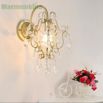 Hot crystal wall lamp living room bedside mirror front lamp  aisle lights bedroom iron art lamp.