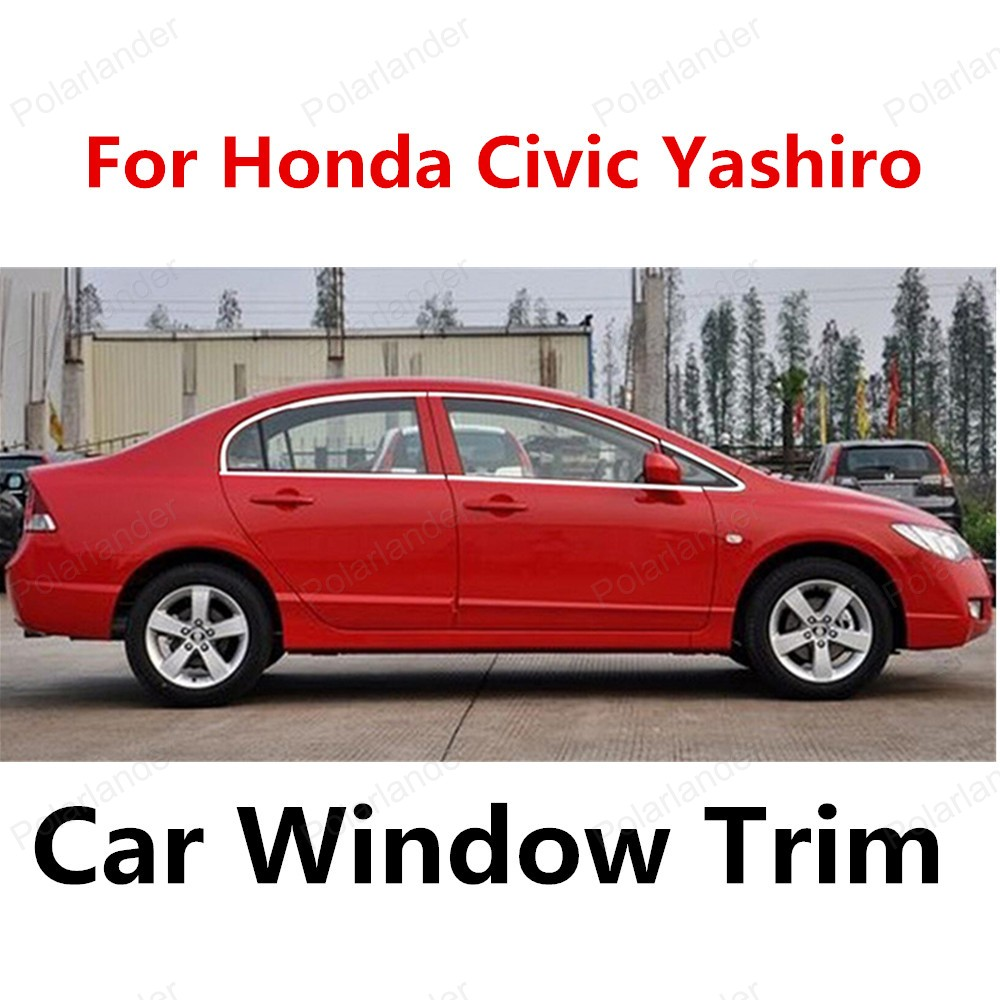 new! for Honda Civic Yashiro stainless steel car window frame decoration trim without column Car Sill Trim new stainless steel car window trim without column decoration strips for honda civic nine generations