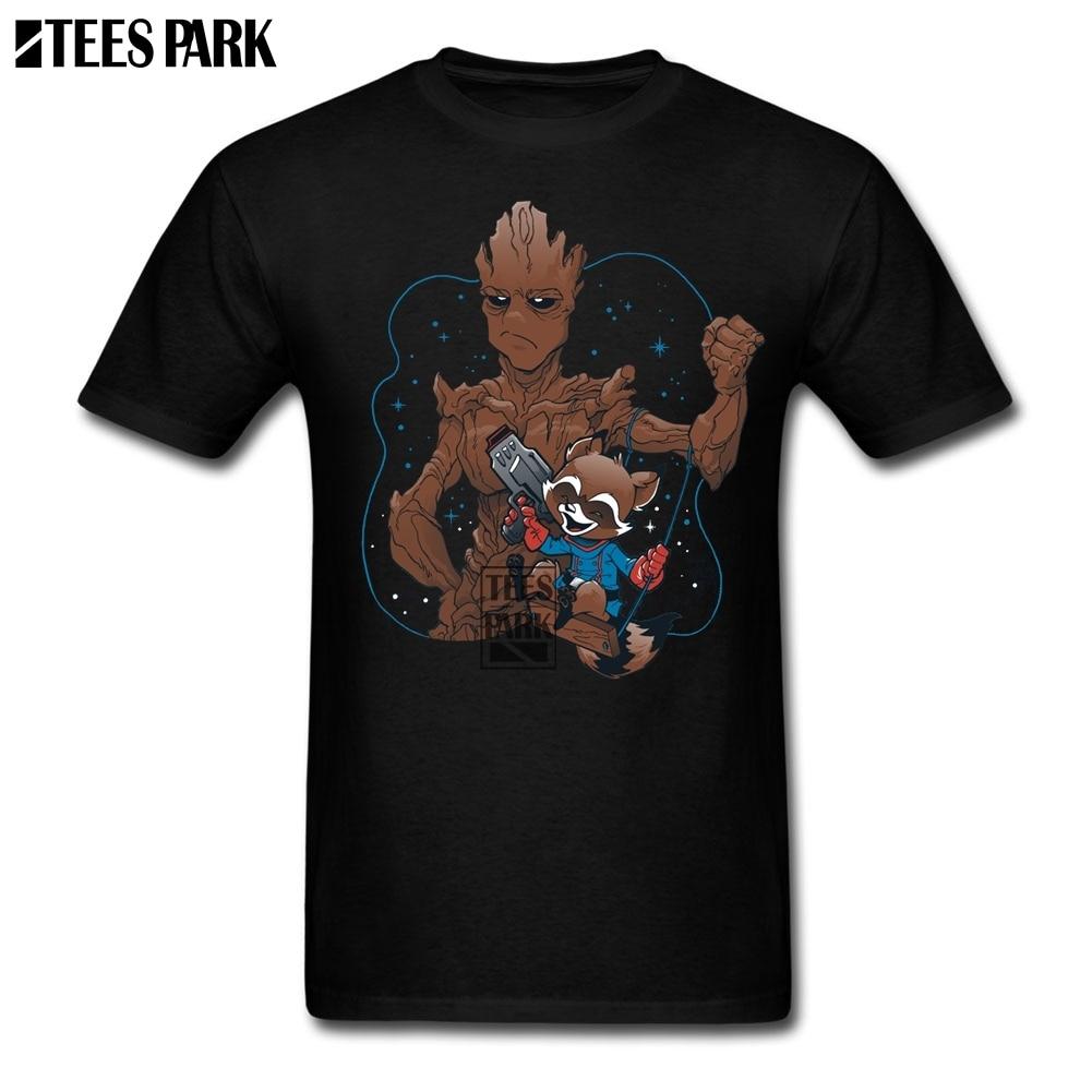 New Casual T Shirt Raccoon Tree Sci Fi Comics T Shirt for Men Geek Low Price Man T Shirt Designer Coloful