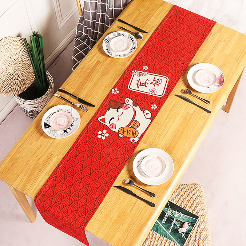 Japanese Lucky Cat Table Runner Modern Furniture Cotton Fabric Fish Pattern Table Cloth