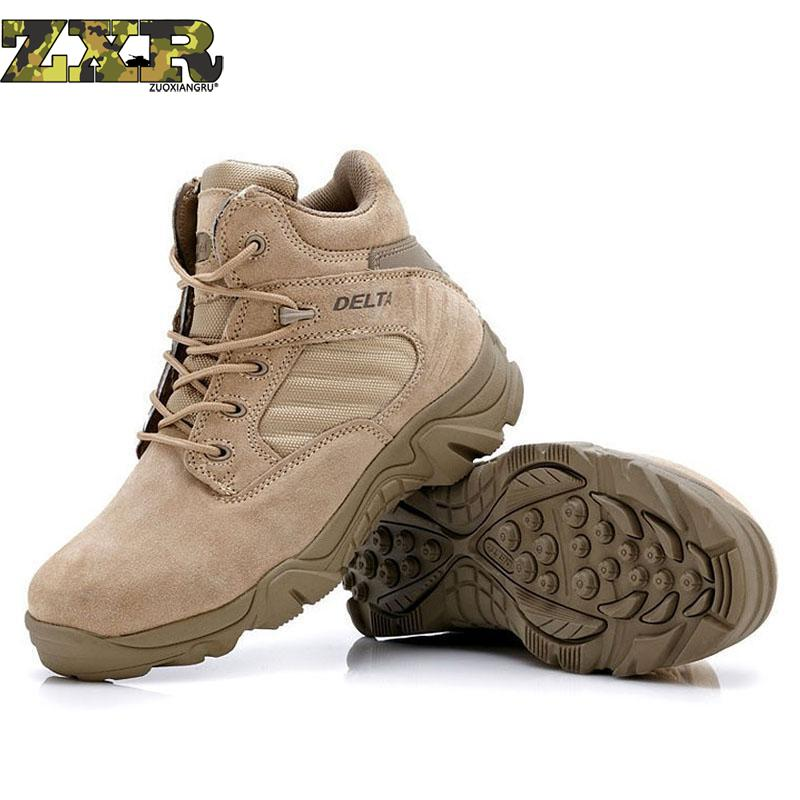 Autumn Winter Military Tactical Boots Round Toe Men Desert Combat Boots Outdoor hiking shoes Mens Leather