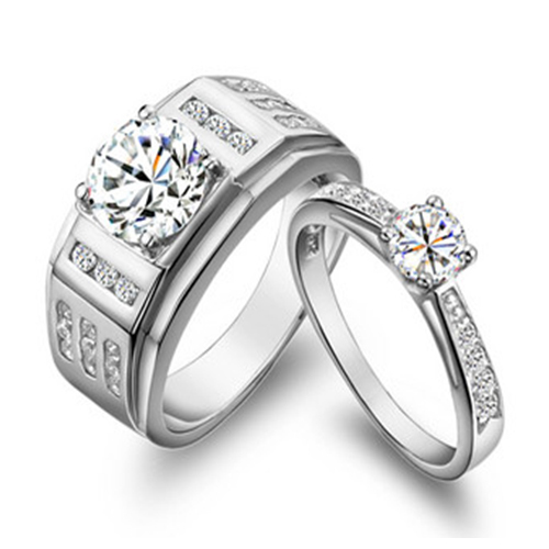 5cd1c31e64 925 Sterling Silver Couple Rings Synthetic Diamonds Mount Engagement Rings  for Lovers White Gold Color His and Her Rings-in Engagement Rings from  Jewelry ...