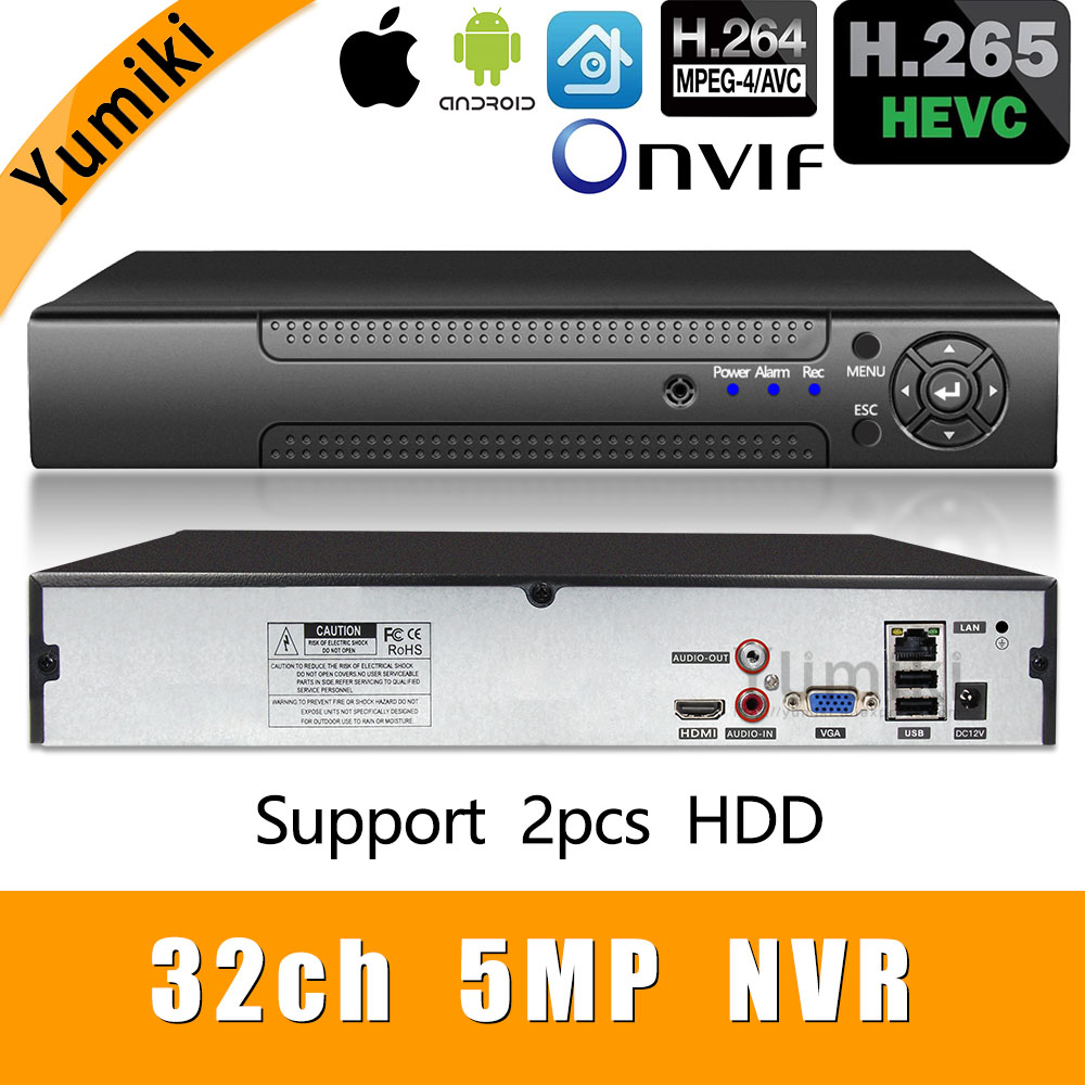 H.265+/H.264 8ch*4K/32ch*5.0MP/32ch*1080P NVR Network Vidoe Recorder 1080P/720P IP Camera ONVIF CMS XMEYE 2*SATA HDD-in Surveillance Video Recorder from Security & Protection    1