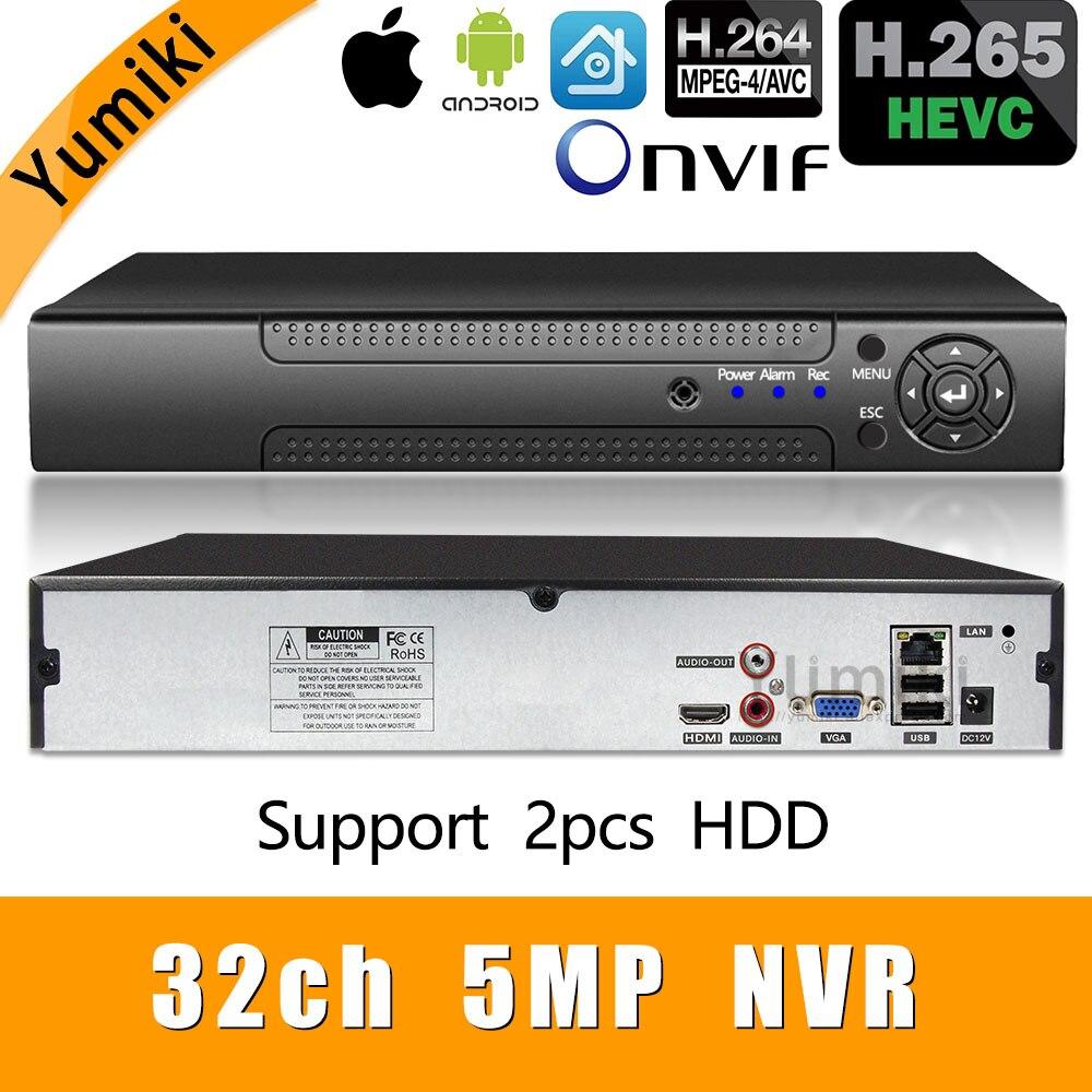 H.265+/H.264 8ch*4K/32ch*5.0MP/32ch*1080P NVR Network Vidoe Recorder 1080P/720P IP Camera ONVIF CMS XMEYE 2*SATA HDD