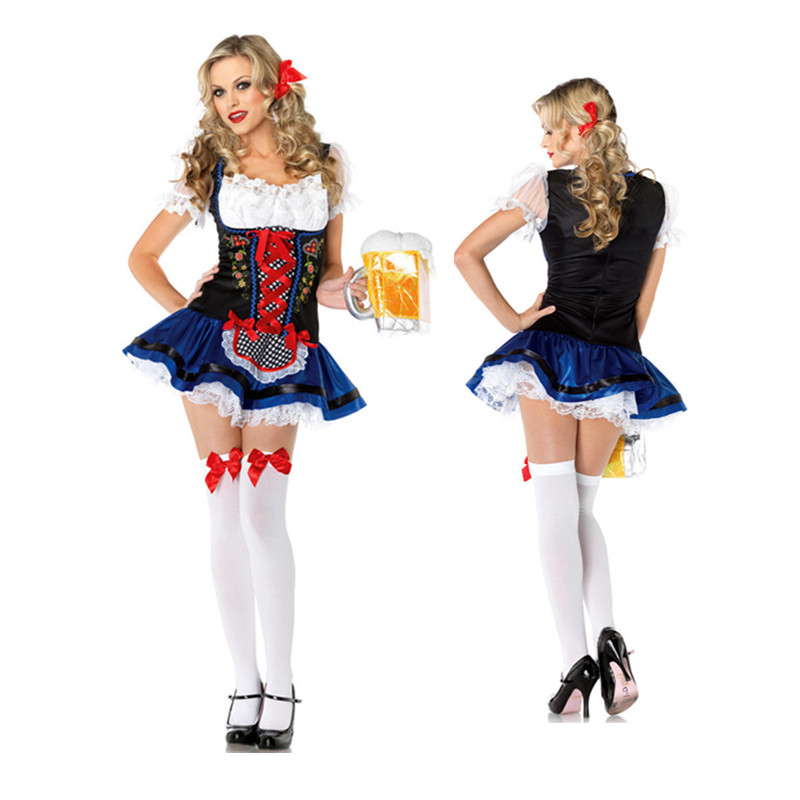 Vocole Womens Bavaria Heidi Beer Girl Costume German Oktoberfest Maid Fancy Dress Halloween Party Uniform