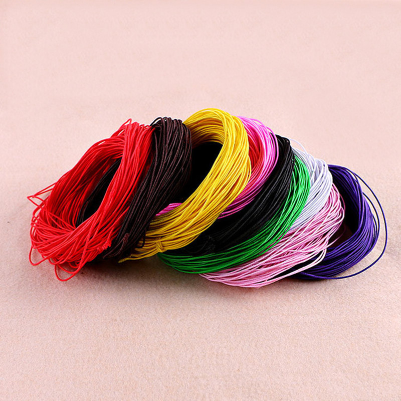( 25 Meter/lot) 25M length high quality 1MM elastic cotton elastic thread beading cord beads cord for DIY jewelry findings fc178