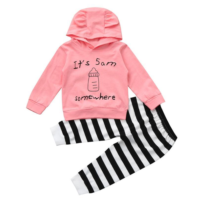 Boys Girls Kids Children Clothes ClothingNewborn Infant Baby Letter Bottle Print Hoodie Tops+Pants Outfits Clothes Set oct