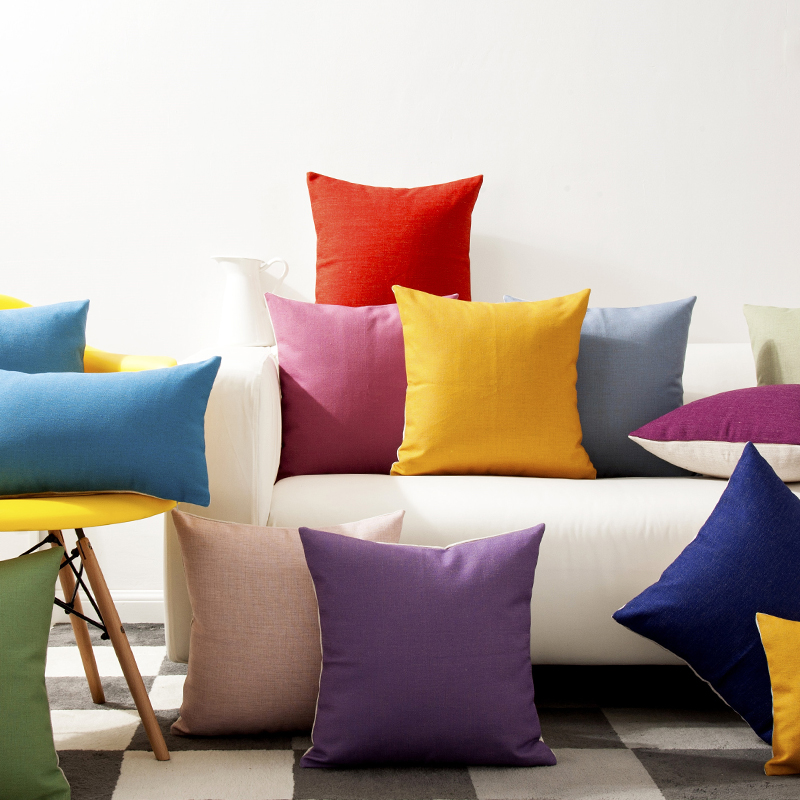 solid color rainbow yellow green blue purple pillow cushion cover home decorative pillows thick linen pillow
