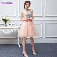 Popular Spaghetti Strap Tulle Beaded Short Coral Prom Dress Free Shipping WH392