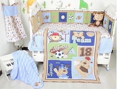baby nursery crib bedding set cot sports christmas winter warm gift 5pcs tour de lit