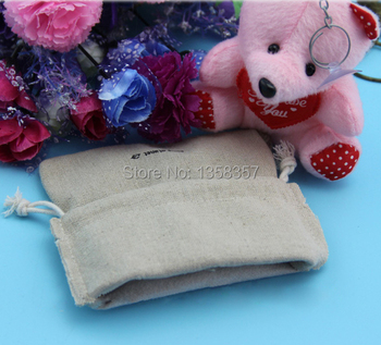 100pcs/lot wholesale jute/linen/flax drawstring gift bags for toiletry/watch/vanilla packaging,Size be customized,Various colors