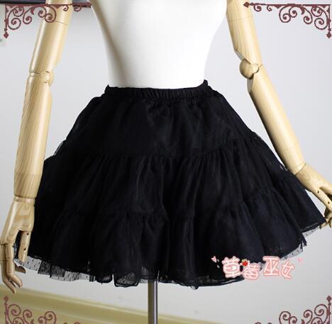 Fresa Bruja Negro Adorable Una línea de Petticoat Lolita Lindo Pettiskirt Tutu Falda Cosplay Para Adultos