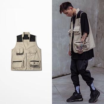 Spring and Autumn men's vest solid color country tide tooling function hip hop coat multi pocket vests for men and women