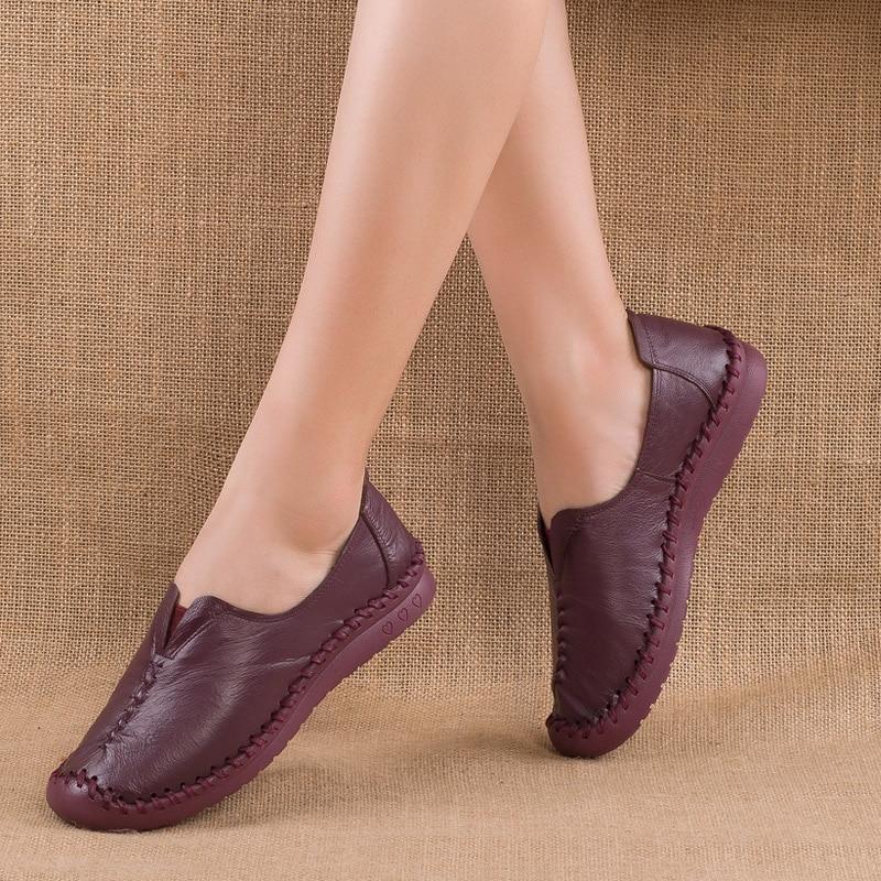 Antideslizantes Conciso Zapatos Vaca Cuero yellow Tamaño purple 41 Señoras Casual Cómodos Vintage De Mocasines Genuino Suave Madre 35 Pisos grey Black gdYzXndwq