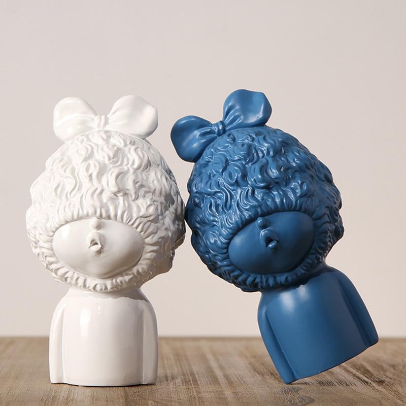 Modern Lovely resin baby sculpture Ornament Cute font b Kawai b font character miniature figurines Arts