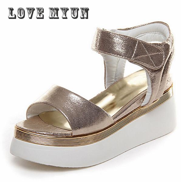 2017 New Women Platform comfort Sandals Gold &Sliver Women Gladiator Sandals Fashion Hook Loop Wedge Shoes Woman Size 35~39 phyanic 2017 gladiator sandals gold silver shoes woman summer platform wedges glitters creepers casual women shoes phy3323