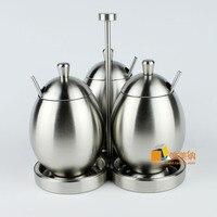Exquisite 304 Stainless Steel Spice Jar Seasoning Bottle Seasoning Box Sucrier Egg Shape Fashion Set