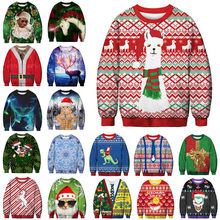 Unisex Men Women 2018 Ugly Christmas Sweater Vacation Santa Elf Funny Christmas Fake Hair Jumper Autumn Winter Tops Clothing(China)