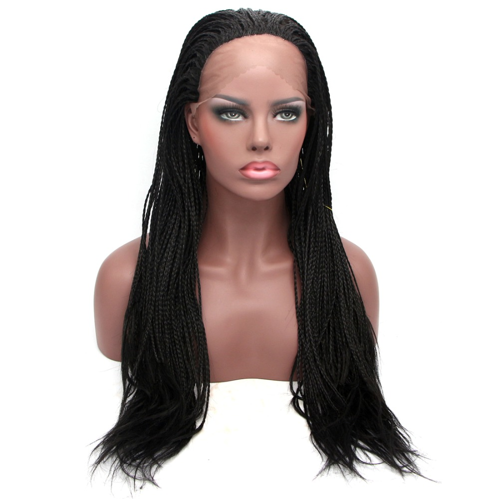 Box Braid Lace Front Wig För Svarta Kvinnor 14 18 24inch Full Head Wig d33