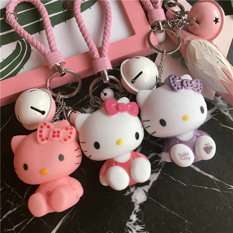 ed0b4d572 Cartoon Dolls Cat Hello Kitty Keychain Leather Rope Bell Porte Clef Car Key  Ring KT Key