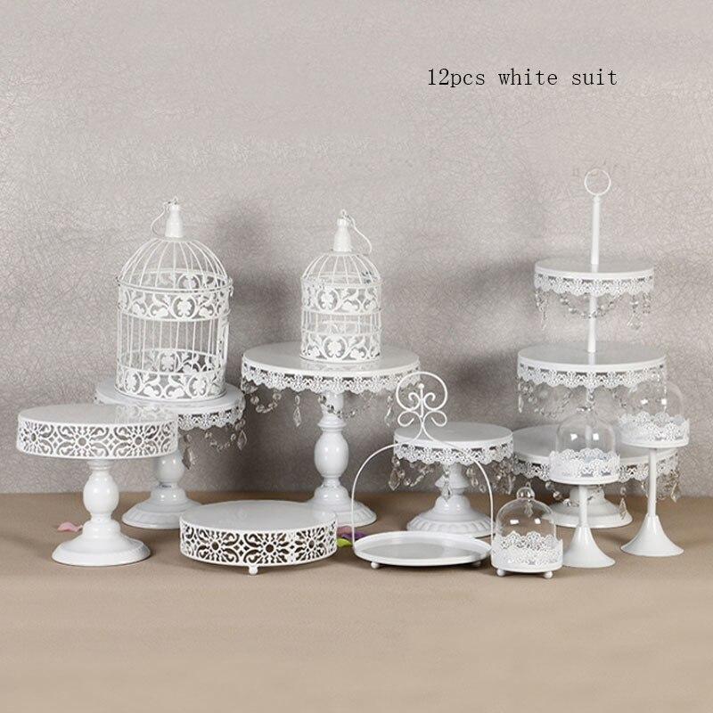 Branco Rodada Carrinho ¿Bolo De Sobremesa de soportes del De Metal com Contas de Cristal branco-in Productos de decoración de tartas from Hogar y Mascotas    1