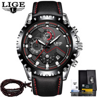 LIGE Luxury Mens Watch Quartz Watches Man Leather Casual Waterproof Stopwatch Chronograph Clock Sport Watch Relogio