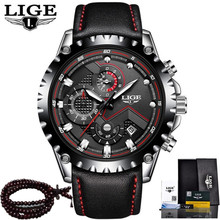 LIGE Luxury Mens Watch Quartz Watches Man Leather Casual Waterproof Stopwatch Chronograph Clock Sport Watch Relogio Masculino