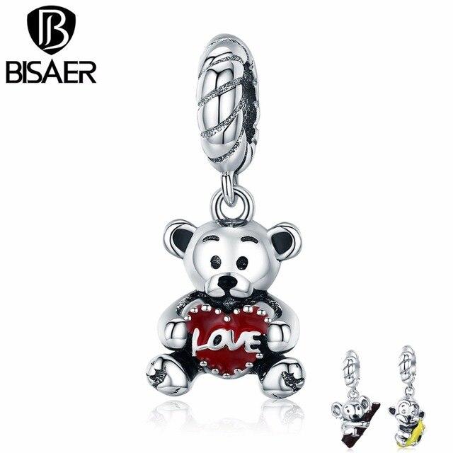 BISAER 925 Sterling Silver Bạc Động Vật May Mắn Khỉ Koala Tình Yêu Gấu Mặt Dây Quyến Rũ phù hợp với Phụ Nữ Quyến Rũ Vòng Đeo Tay Bạc 925 Đồ Trang Sức GXC521