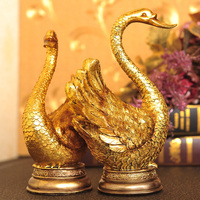The golden swan couple Home Furnishing living room resin decoration wedding gift European decor Zhaocai crafts business