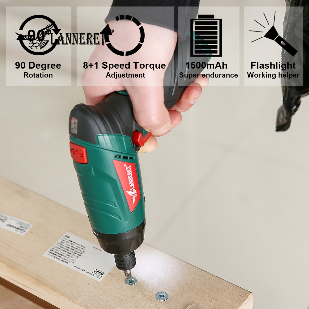 Image 5 - LANNERET 3.6V Cordless Electric Screwdriver Lithium Ion Household Multifunction Drill/Driver Power Gun Tools LED Light-in Electric Screwdrivers from Tools on
