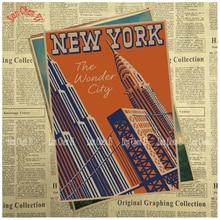 1188d9c125023 Jazz de Nueva York noche papel Kraft cartel Cafe papel pintado creativo  decoración interior envío gratis