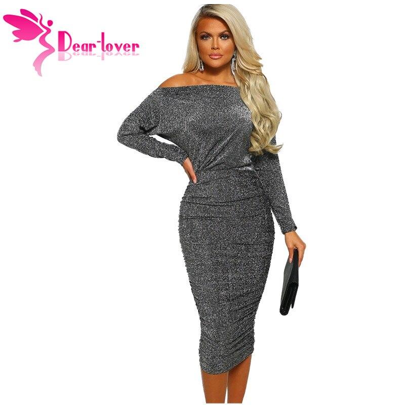 Dear Lover Sexy Club Dresses for Women Spring Grey Slash Neck Long Sleeve  Ruched Midi Dress 3cf8f43a3df7