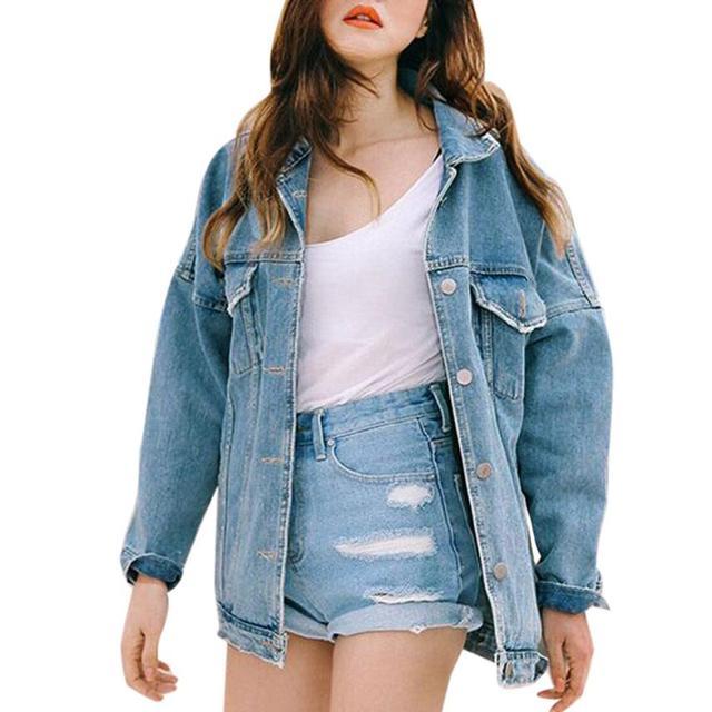cef489dae0178 feitong Street Wearing Female Stylish Retro Women Boyfriend Oversize Loose  Jacket Casual Denim Jeans Coat Outwear Denim Cloth