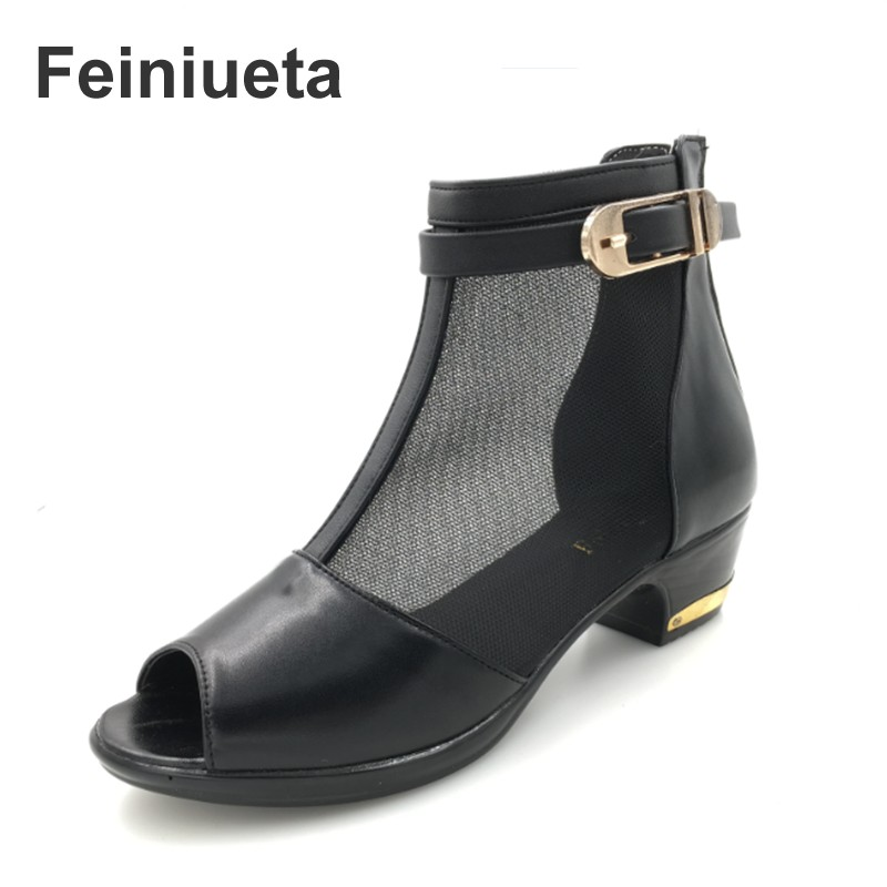 Feiniueta 2017 summer new female shoes leather net boots hollow with kiwi fish mouth boots women shoes plus size 35--43 hot sale 2016 summer new hollow flowers fish mouth high heeled women s sandals plus size 34 43 shoes