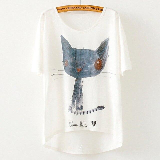 Новый бренд 2019 летняя футболка Женская Топ Повседневная футболка с животным принтом свободная большая Футболка с рукавами «летучая мышь» ж...
