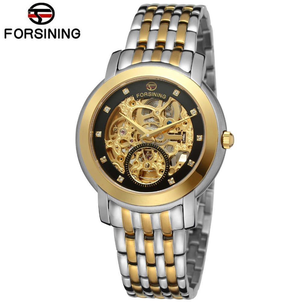 2017 Automatic Watch Men Forsining Luxury Diamond Display Hollow Out Mechanical Watch Wristwatch Gift Box Free Ship k colouring women ladies automatic self wind watch hollow skeleton mechanical wristwatch for gift box