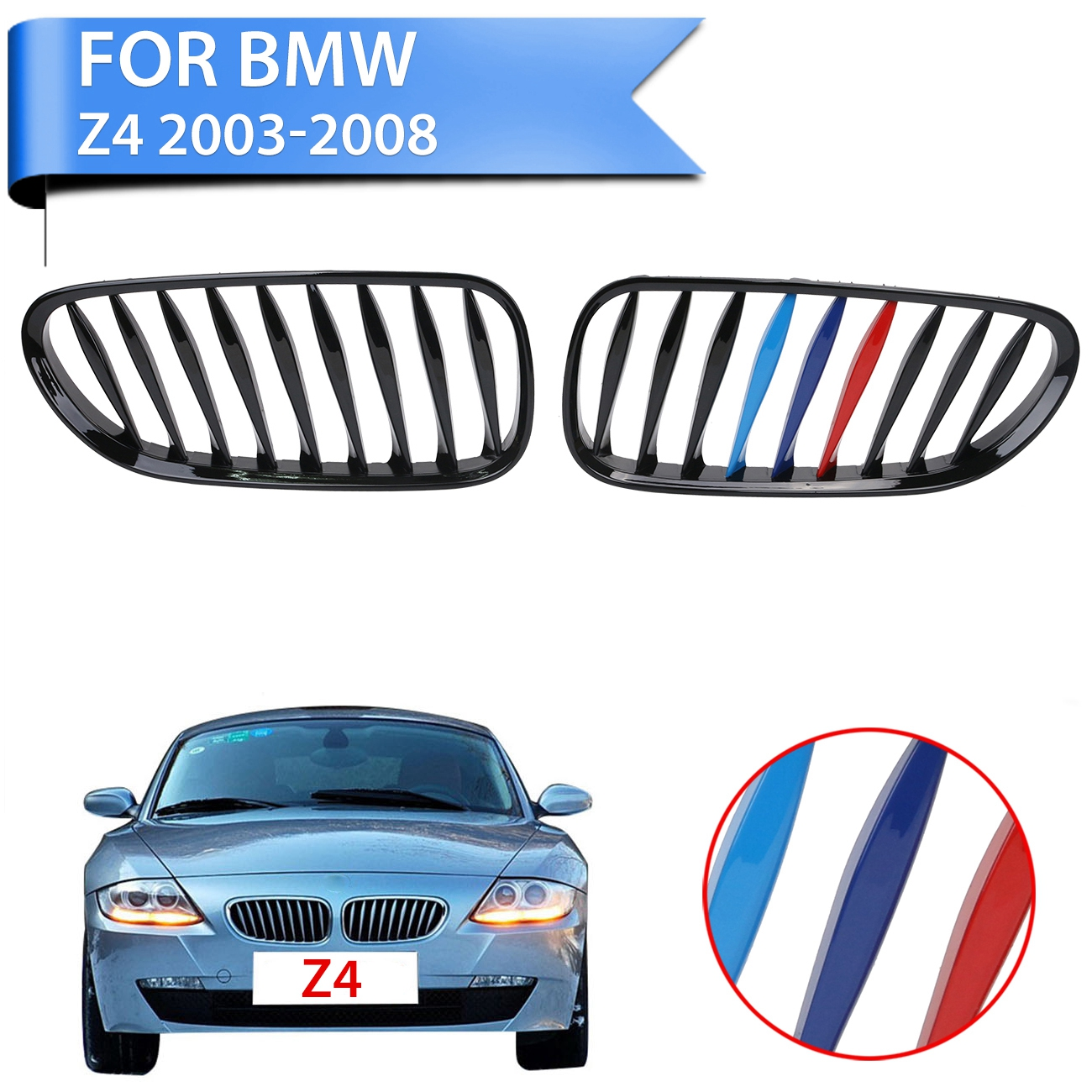 Front Grille Kidney Shape Grill For BMW E85 E86 Z4 2003-2008 Convertible CoupeCar Styling .#P361